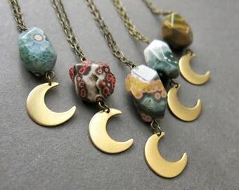 Crescent Moon Necklace - Ocean Jasper Necklace - Boho Moon Pendant - Moon Jewelry - Jasper Jewelry - Bohemian Pendant - Jasper Pendant