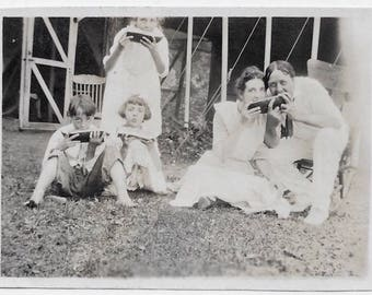 Old Photo Family Eating Watermelon Outside on Lawn 1910s Photograph Snapshot vintage
