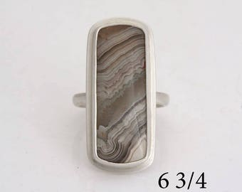 Crazy Lace Rosetta agate, sterling silver ring, size 6 3/4, #834.