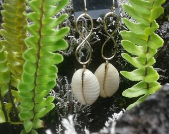 14k gold Infinity Hawaiian Cowrie Shell Earrings