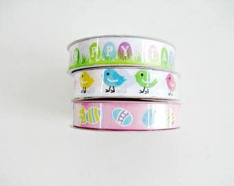 Set of 3 non-wired Easter polyester ribbon, Easter ribbon, Easter chick ribbon, Easter egg ribbon