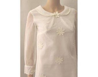 Marguerites plumetis 60s short dress white small