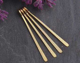 Shiny Gold, Textured Flat Long Drop Charms, Gold Charms, Long Charms, 4 pieces // GCh-242