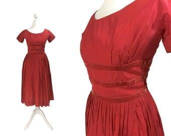 1960's Teena Paige Fashions Dress | Vintage Party Dress | Red Taffeta Dress | 60's Cocktail Dress | Teen Fashions