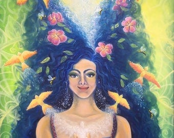 Giving and Receiving - original oil painting - woman, energy, birds, exchange