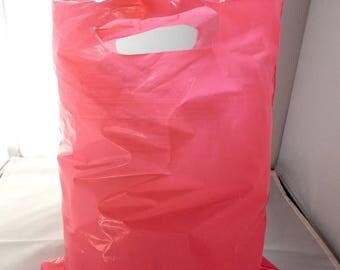 On Sale 100pcs 9x12 ~Hot Pink Glossy Retail Merchandise Bags, Low Density Plastic Merchandise Gift Bags w/Die Cut Handles