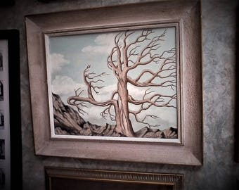 The Veteran, Original Oil Painting, Cypress tree, landscape, bald tree, Wounded Warrior, Soldier, Old Soldier, Marine, Army, Navy,