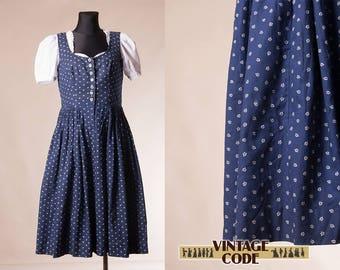 Navy Blue White Pinafore Dirndl Dress / Austrian German Trachten Oktoberfest folk dress  / size Medium to Large