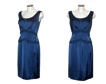 "Vintage 1950s Blue Satin Wiggle Dress. B 34"". W 30"". H 36"". Excellent Condition. Vintage Film Noir 1950s Bombshell Wiggle Dress with Tassels"