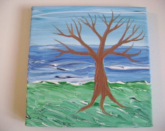 The Coast - Original Acrylic Painting - Stretched Canvas - 8 x 8