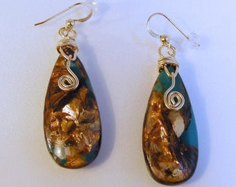 14 Karat Gold Filled Copper Bornite Earrings