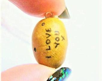 Potato Necklace, I love You Necklace, Potato Charm, Potato Pendant, Vegetarian Jewelry, Gift for Vegetarian Valentines gift Vegan necklace