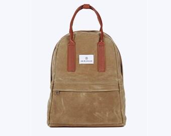 NO. 13 Backpack, Mini Waxed Canvas Backpack, Beige Backpack, Women Backpack, Kid Backpack, 12 Inch Laptop Backpack, Girl Backpack,
