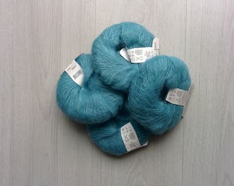 Yarn SALE Yarn DESTASH Kid mohair Kid Mohair yarn 25gr ball Turqoiuse color ON Sale kid mohair