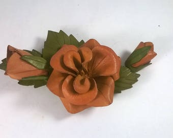 Vintage Leather Flower Brooch - Brown Flower and Buds -  Handmade Pin Jewelry - Retro Canadiana Souvenir