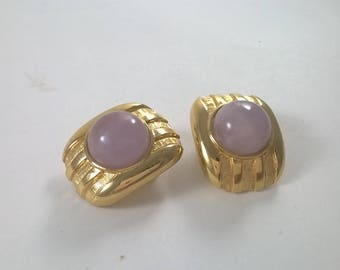 Vintage Earrings Gold Tone Chunky Pink Clip On Costume Jewelry