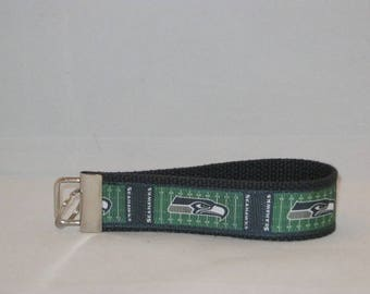 Keychain Wristlet Made With Seattle Seahawks Inspired Ribbon
