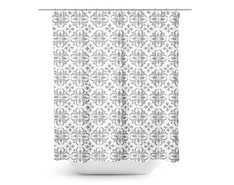 Farmhouse Shower Curtain Gray Bathroom Rustic White And