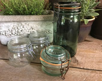 French Canning Jar L' Ideale, 350 Size, French Green Mason Glass, French Country Farmhouse