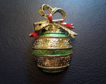 Vintage Christmas Brooch or Pin.  Bauble in Silver Tone with Red and Green Accents.  Excellent Condition.