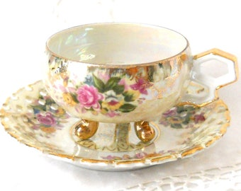 lusterware tea cup and saucer vintage footed teacup pearlized tea cup pale yellow luster tea cup floral tea cup  117