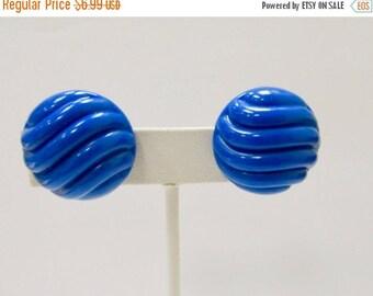 ON SALE Vintage Molded Blue Plastic Earrings Item K # 2924