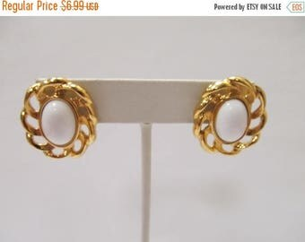 ON SALE Retro Gold Tone and White Bauble Earrings Item K # 2296