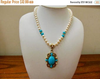 ON SALE 1928 Manufacturing Company Faux Pearl and Faux Turquoise Necklace Item K # 588