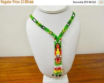 ON SALE Vintage Native American Indian Glass Beaded Necklace Item K # 1665
