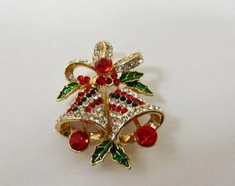 ON SALE Retro Enameled Rhinestone Christmas Bell Pin Item K # 196