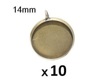 10 blank pendant bronze medal for cabobochon 14mm