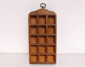 Vintage Rustic Wooden 15 Compartment Thimble Wall Display Holder Decoration
