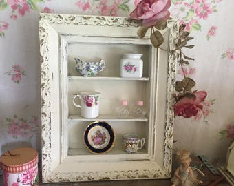 WALL CURIO   Vintage Curio Cabinet,.Shabby Chic Wall Cabinet,French  Farmhouse Decor Part 45