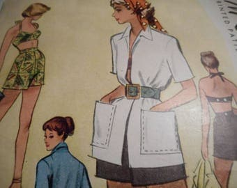 Vintage 1940's McCall 7665 Bathing Suit, Coat and Trunks Sewing Pattern Size 12 Bust 30