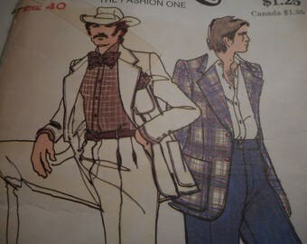 Vintage 1970's Butterick 3651 Men's Jacket and Pants Sewing Pattern Size 40