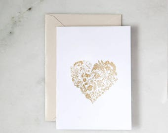 Floral Heart Cards, Maid of Honor, Gold Foil Bridesmaid Cards, Be My Bridesmaid, Greeting Card, All Life Cards, Get Well Card, New Home Card