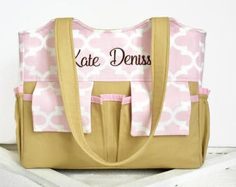 Personalized Diaper Bag in Pink Quatrefoil and Beige Brown Baby Girl or Boy 11 Pockets Nappy Bag