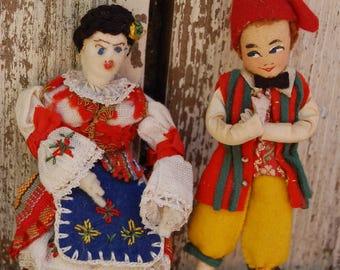 Dolls from Peru. Man and woman Peruvian Dolls. Small handcrafted dolls.
