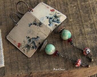 Bohemian earrings-Japanese vintage print-Asian style-Asian peonies pendant-rustic earrings-ethnic earrings-bohemian look-ivory-red-green
