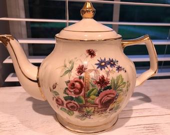 Sadler Tea Pot with Basket of Flowers Design