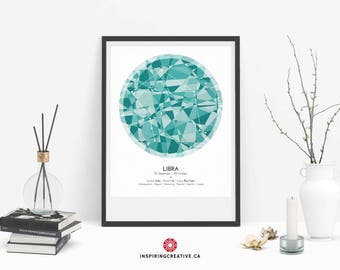 LIBRA Zodiac Constellation Poster - Abstract Modern Art Gallery Quality Giclée Print- Astrology and Horoscopes art print- Birthday gift