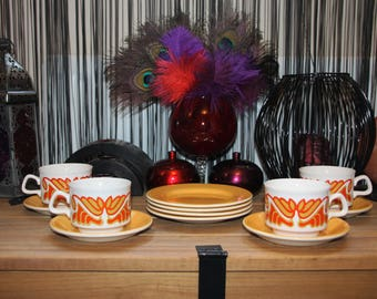 White/Orange/Yellow 60's/70's Psychedelic Folk Cup/Saucer/Plate Set