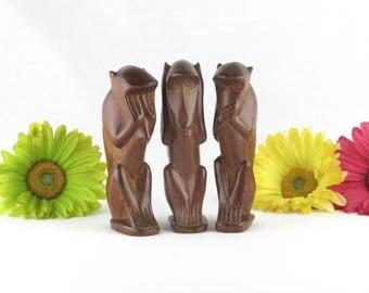 Large Wise Monkey Figurines Set - See No Evil - Hear No Evil - Speak No Evil - Vintage Home Decor