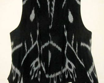 Uzbek Ikat Women's Vest Silk Cotton Black and White
