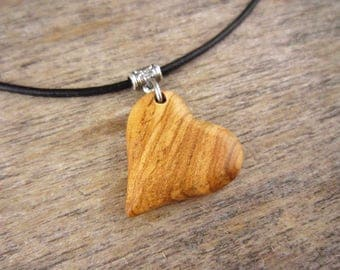 Wood Heart Necklace, Olive Wood Heart Shaped Pendant With Simple Leather Necklace, Hand Carved Wood Heart Charm