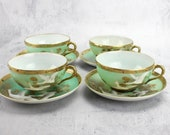 HOLD for PAULA Vintage Nippon Moorage Swans Teacups, Japanese Beaded Set, 1920s Moriage, Porcelain, Green and Gold Beaded Teacups, Cranes