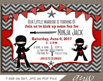 Ninja Birthday Party Invitation Ninja Warrior Birthday Party Invitations Ninja Invites Printable Chevron Red Black Ninja Invitation ANY AGE