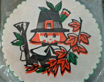 vintage paper coasters / thanksgiving / pilgrim / holiday coasters / set of 12 / thanksgiving decor / vintage barware / party coasters / NOS