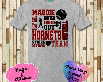 Softball  Subway Art Shirt