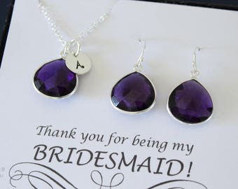 2 Monogram Bridesmaid Necklace and Earring set Purple, Bridesmaid Gift, Amethyst Quartz, Sterling Silver, Initial Jewelry, Personalized